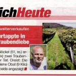 Medienbericht Tageszeitung HEUTE über erwischte Weintraubendiebe durch Feldschutzorgan
