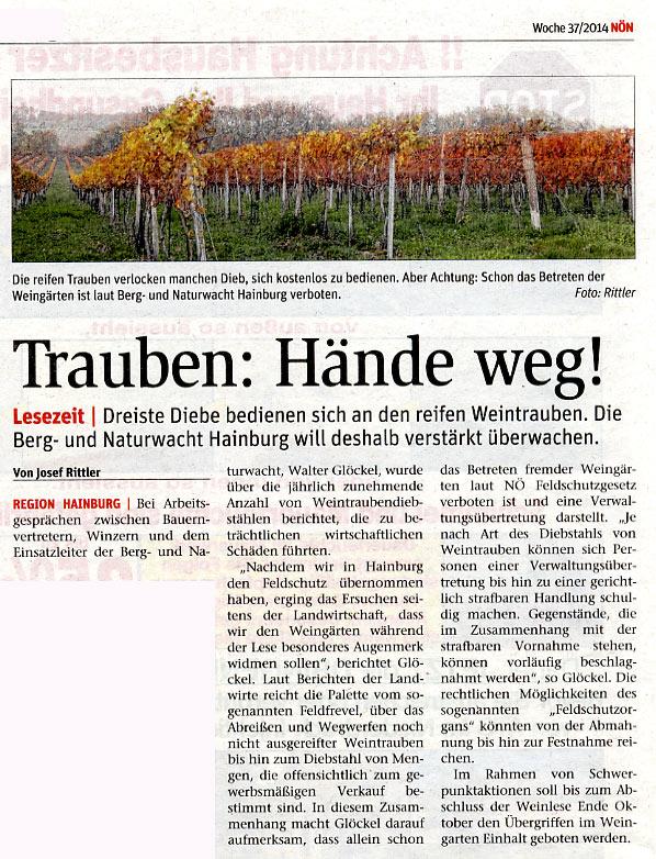 Medienbericht der NÖN über Feldschutz und Weinlese 2014 | (C) by NÖN