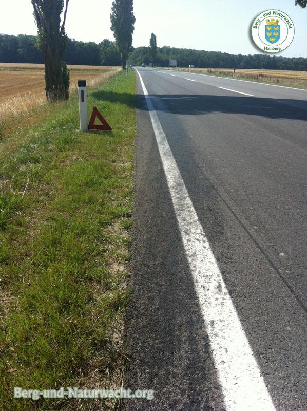 Das Warndreieck war in zu kurzem Abstand zum KFZ aufgestellt | Foto: Berg- und Naturwacht.org