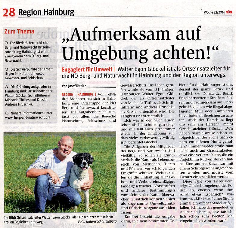 Medienbericht NÖN über NÖ Berg- und Naturwacht OEL Hainburg | Copyright by NÖN