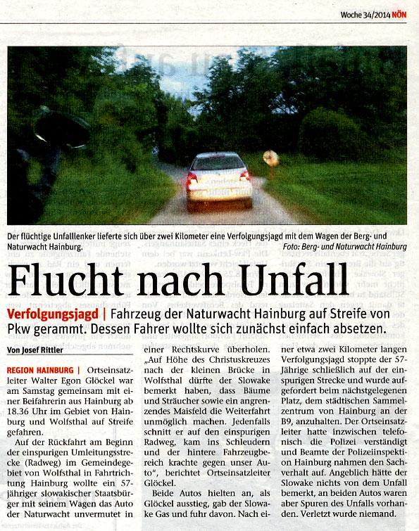 Medienbericht NÖN über Berg- und Naturwacht Hainburg | Copyright by NÖN