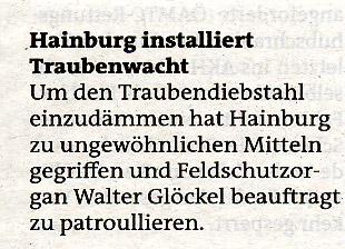 Jahresrückblick der Bezirksblätter über Überwachung der Weingärten in Hainburg durch das Feldschutzorgan