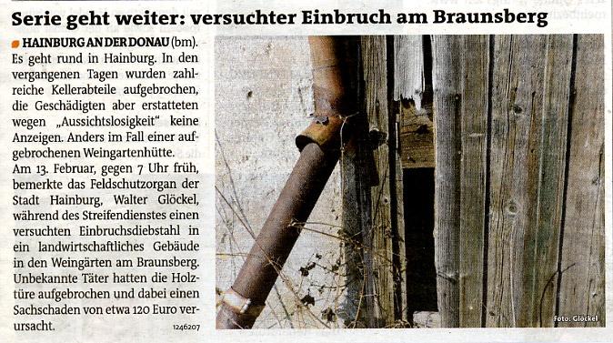 Bezirksblätter - Medienbericht über Einbruch in Feldgut - Feststellung durch Feldschutzorgan der Stadt Hainburg