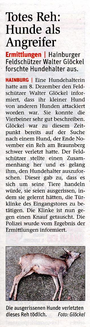 Medienbericht NÖN über erfolgreiche Ermittlungen des Feldschutzorgans Walter Glöckel