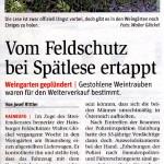 Medienbericht der NÖN über Erfolg des Hainburger Feldschutzorgans   (C) by NÖN